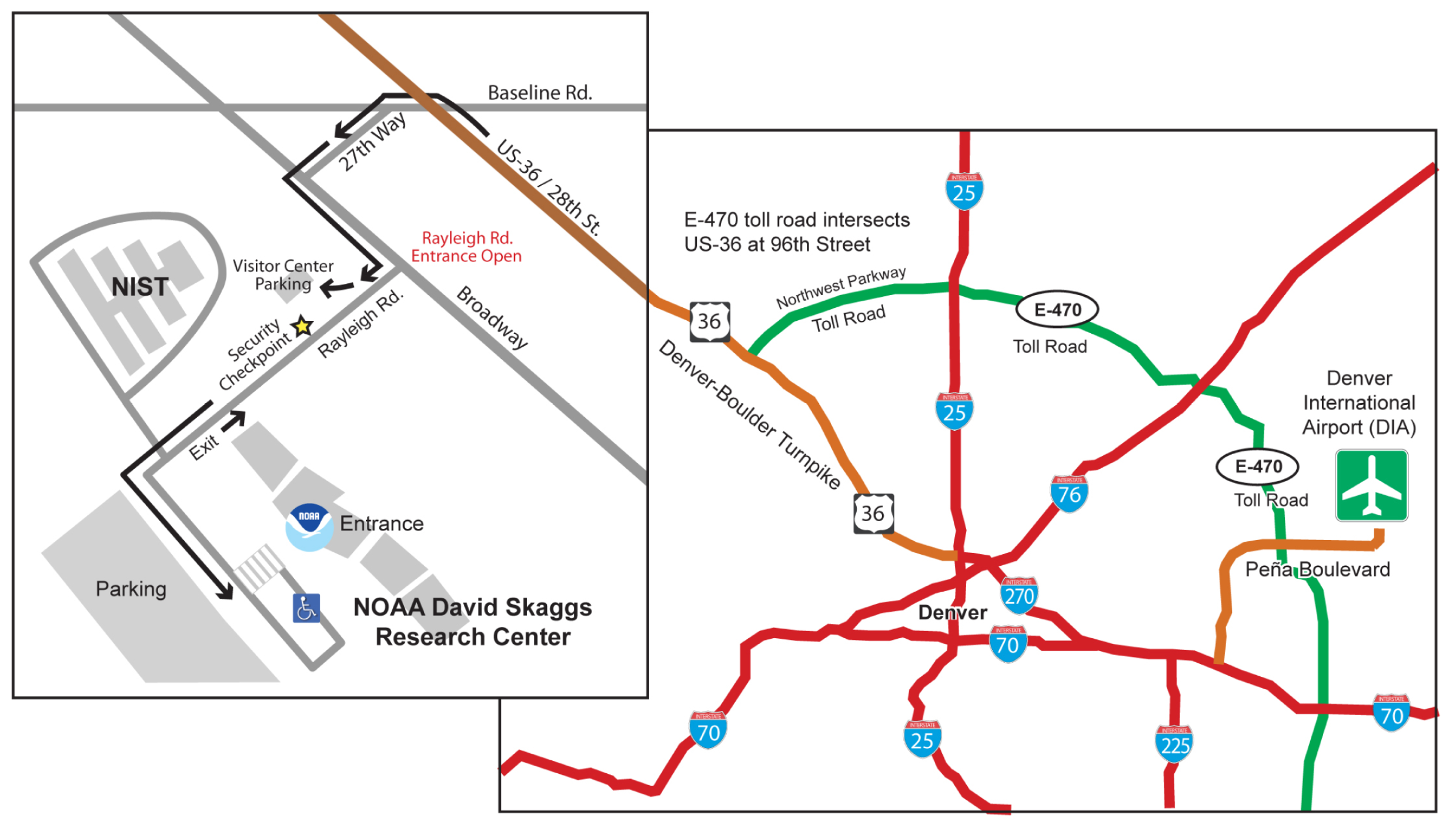 Map of driving route from DIA to Boulder and NOAA.